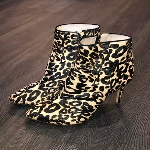 Louise Et Cie leopard calf hair heeled booties